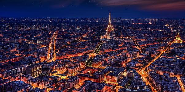 Párizs, Franciaország, Eiffel-torony, éjszaka, éjszakai Párizs, város, mamutváros