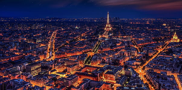 paris, france, eiffel tower, night, night paris, city, megalopolis
