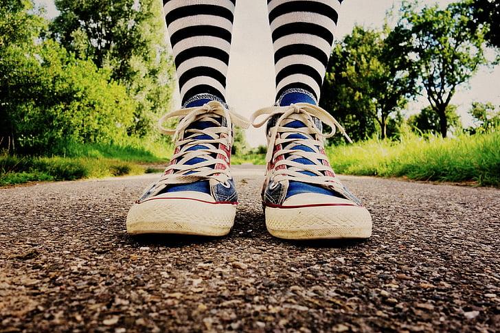 pēda, kāja, kājas pēdas, kurpes, čības, pastāvīga, svītrains