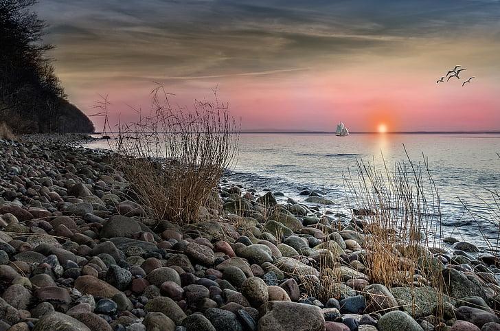 пляж, море, Захід сонця, abendstimmung, Балтійське море, корабель, острові Рюген