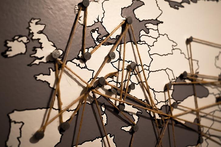 món, Europa, mapa, connexions, xarxa, continent, viatges