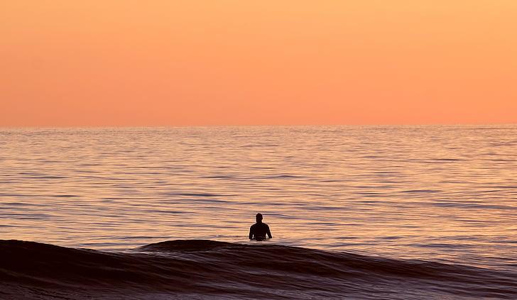 platja, capvespre, horitzó, natura, oceà, Mar, marí