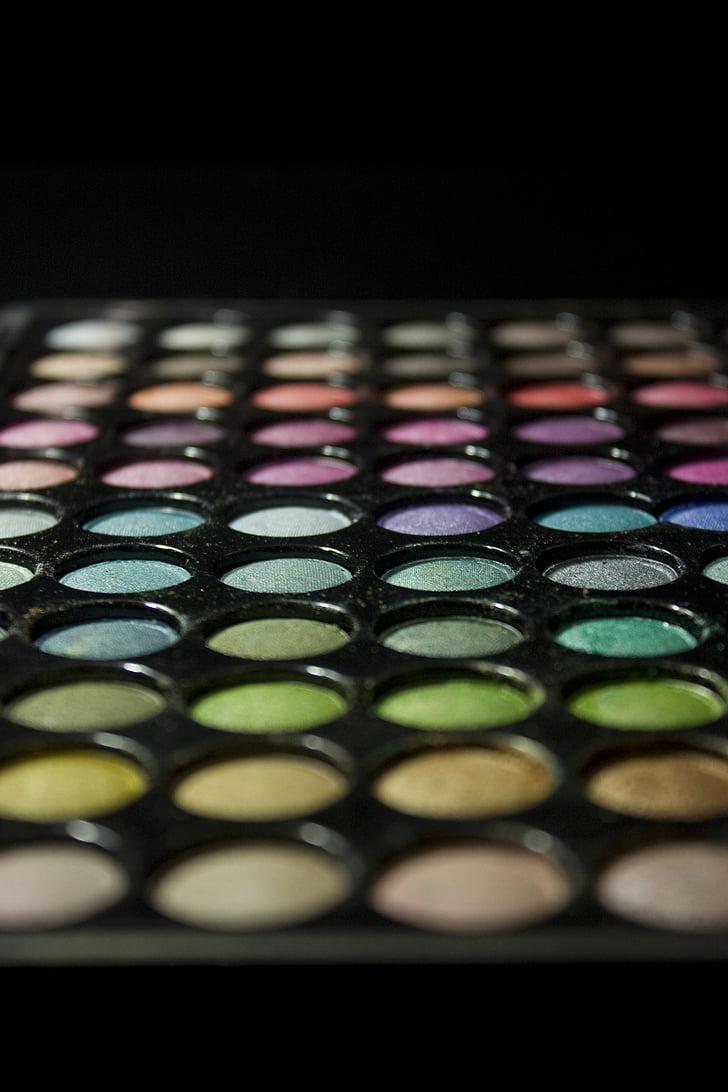 makeup, palette, colorful, eyeshadow, eye, powder, woman