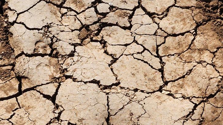 texture du sol, au sol, texture, fissure, sec, désert, Terre