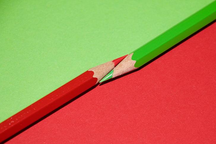 цветни моливи, цвят, Чудесно, червен, Грийн, молив, дърво - материал