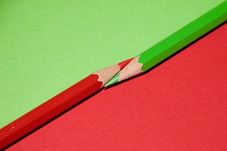 farebné ceruzky, Farba, veľký, červená, Zelená, ceruzka, drevo - materiál