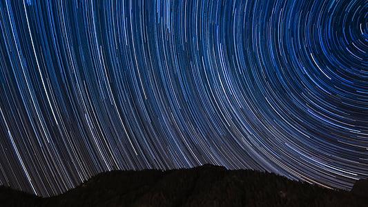 silueta, muntanyes, estrelles, Timelapse, fotografia, cel, estrella