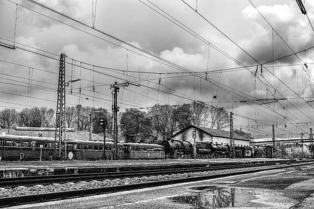 dramatic, blackjack, nostalgic, train, railway station, black white, railway
