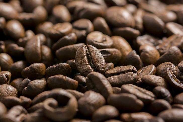 kavos, kavos pupelės, pupelės, aromatas, rudos spalvos, gėrimas, kavinė