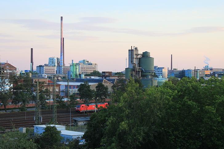 Průmyslový park, maximální, chemii, komín, průmysl, obrovské, vysoká