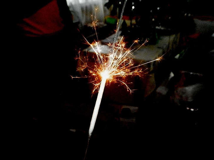 sparkler, valgus, jõulud, säde