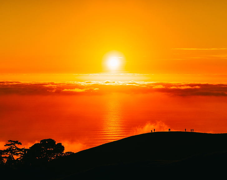 Califórnia, pôr do sol, Crepúsculo, linda, sol, céu, nuvens