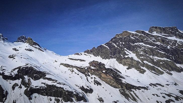 산, 스노우 마운틴, 조 경, 눈, 자연