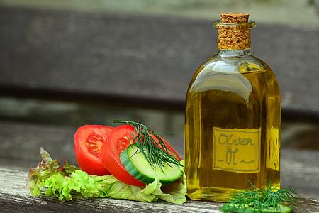 huile, huile d'olive, bouteille, méditerranéenne, bouteilles en verre, nature morte, rempli