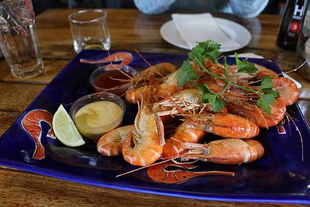 garneles, garšīgi, jūras veltes, virtuve, pusdienas, pārtika, gardēdis