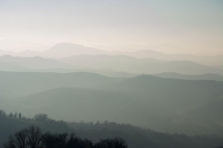 paisatge, muntanyes, boira, boira, tèrbola