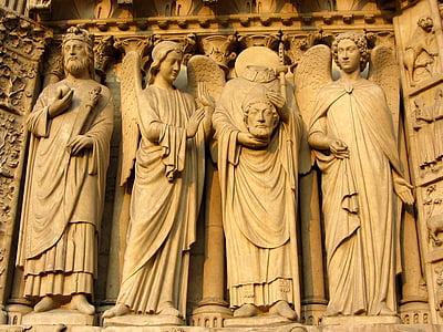 Notre dames, París, façana, Notre dame de chartres, Notre-dame, figura de pedra, Roca tallada