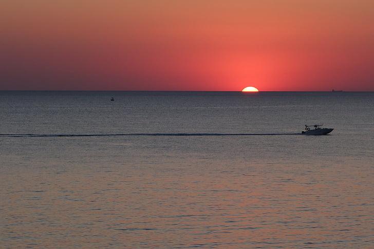 sea, sunset, summer, landscape, boat, sun, evening