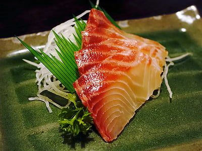sashimi, fish, food, seafood, japanese, vegetables, raw