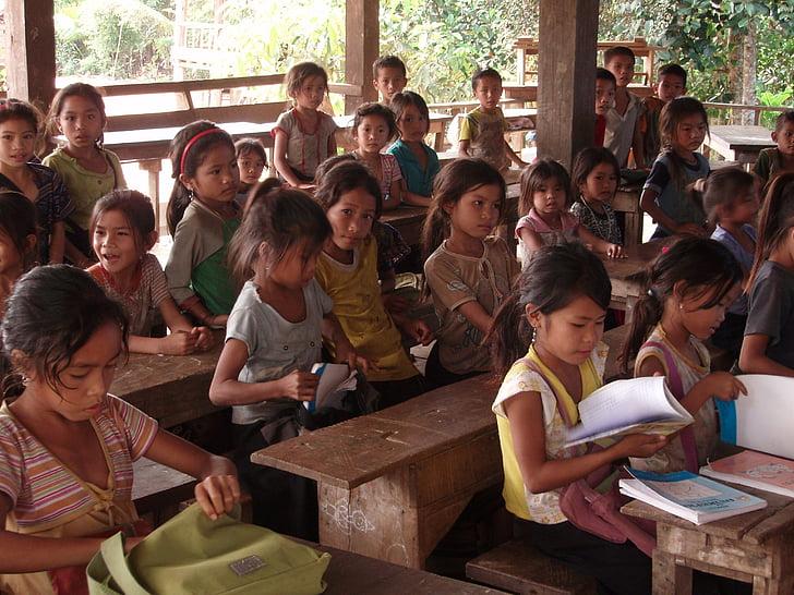 estudiantes, Escuela primaria, aldea, Laos, niños, instrucción, sur de laos