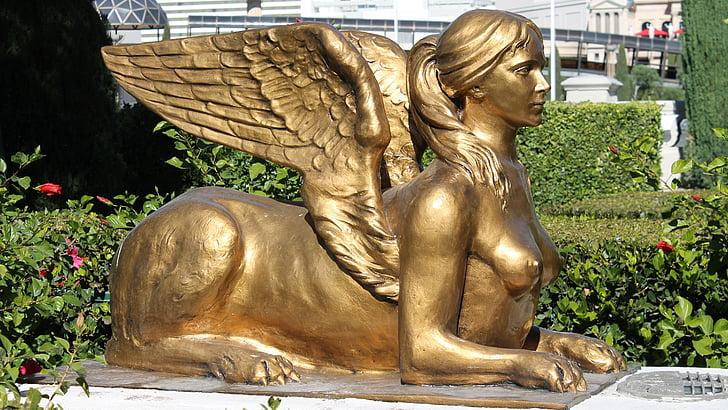 statue, female, stone, sphinx, stone figure, sculpture, lady