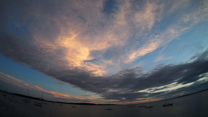 Хианисспорте, США, Закат, небо, abendstimmung, облака, воды