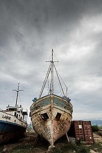 övergiven, åldrande, båt, bruten, kusten, behållare, fiske