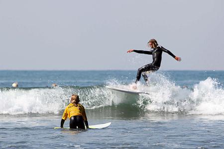 surfeurs, Surf, planche de surf, Surf, mer, eau, océan