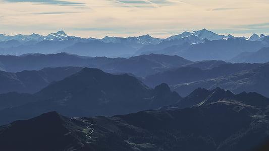 boira, paisatge, muntanyes, a l'exterior, silueta, muntanya, cim de la muntanya