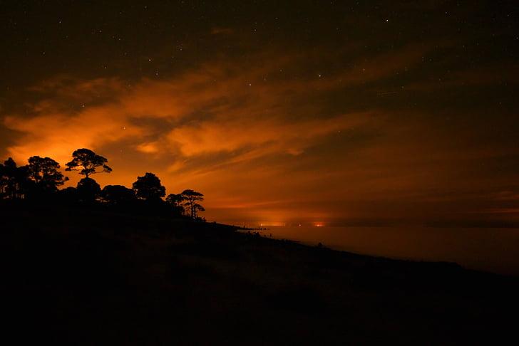 nit, capvespre, Florida, platja, paisatge, estrelles
