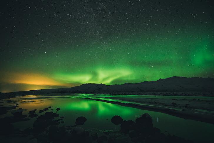 Thiên nhiên, cảnh quan, tối, đêm, Aurora borealis, sao, ngắm sao