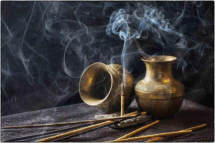 kadzidło, Indyjski, aromatyczne, kij, dym - fizycznej struktury, pomieszczeniu, nie ma ludzi