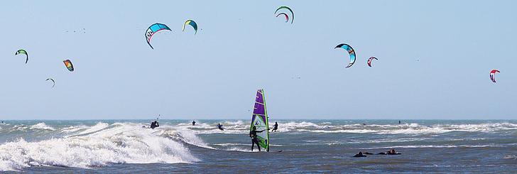 water sports, kiting, windsurfing, ocean, sea, beach, fly