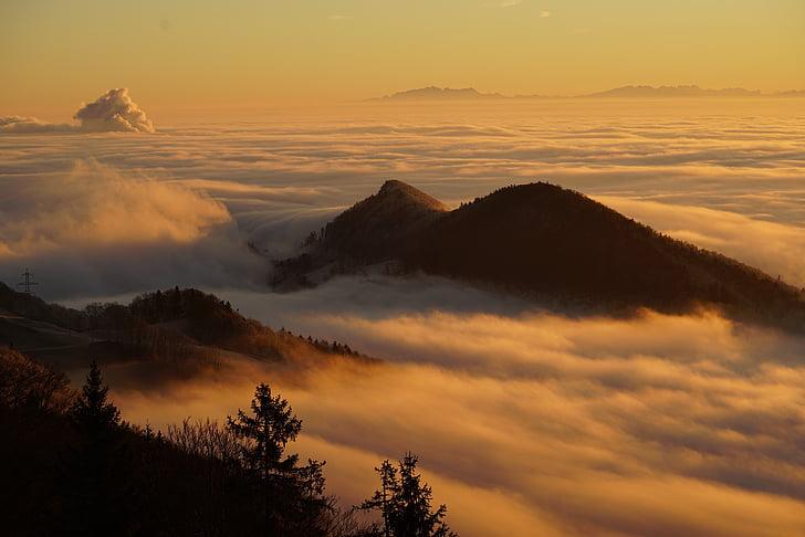 Homberg, nuvens, marinho da silva rocha, mar de névoa, faróis de nevoeiro, brilho de nebulosa, cobertura de nuvens