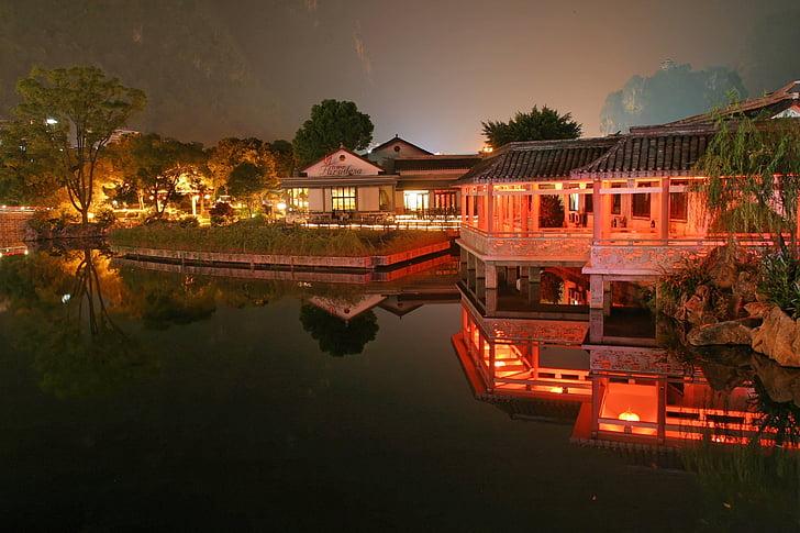 village, china, night, light, lighting
