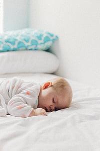 dormitori, llit, coixí, nadó, son, nen, nen