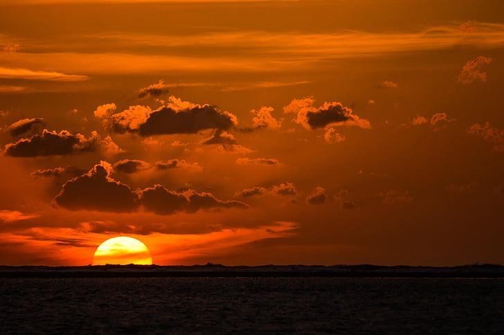 pôr do sol, sol, romântico, céu da noite, abendstimmung, mar, natureza