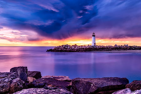 santa cruz, california, light, lighthouse, sea, ocean, bay