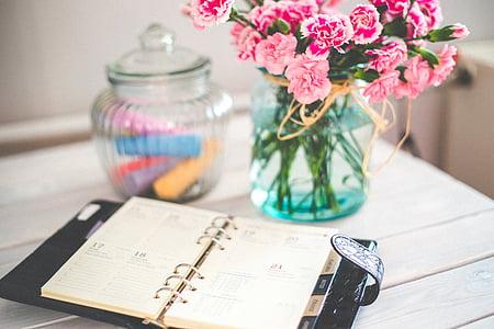 Organitzador, Organitzador personal, diari personal, Nota, flors, Rosa, anyada