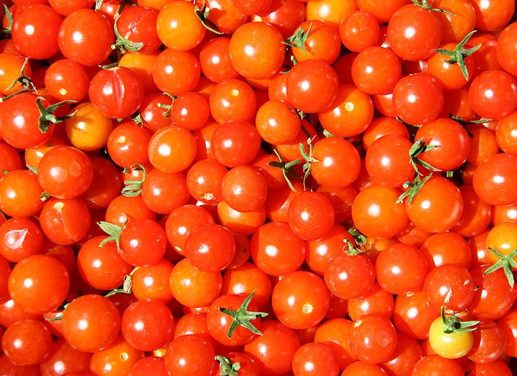 tomatid, kirsi punane tomat, Baby tomat, kirss, punane, toidu, tomat