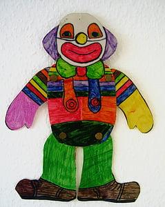 clown, drawing, children drawing, paint, smile, laugh, joy