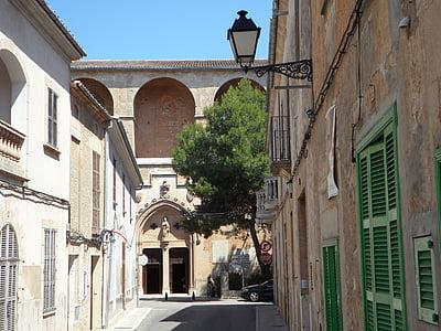 utca-és városrészlet, Petra, Mallorca, City view, óváros, építészet, mediterrán
