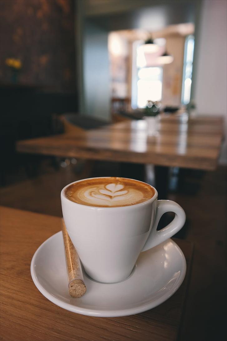 kabur, istirahat, Sarapan, kafein, cappuccino, Close-up, kopi