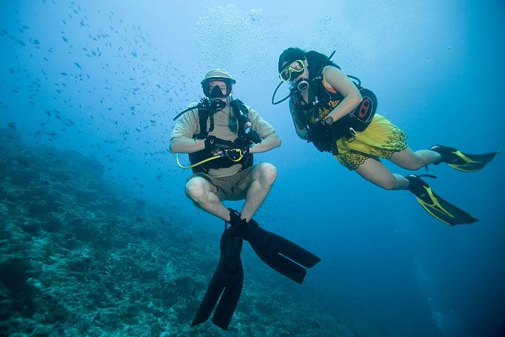 ballar sota l'aigua, oceà, a la part inferior, flotabilitat, moda, Mar, sessió de fotos