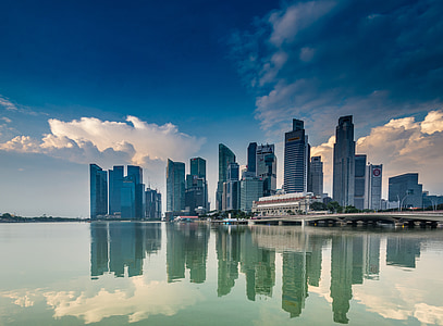 Singapura, laut, Pantai, pencakar langit, air, Pantai, langit biru