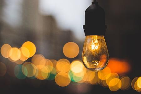 luz, bombilla, electricidad, desenfoque de, bokeh, Lámpara, noche