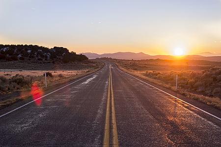 Príroda, fotografovanie, prázdne, cestné, Dĺžka, Sunrise, Diaľnica
