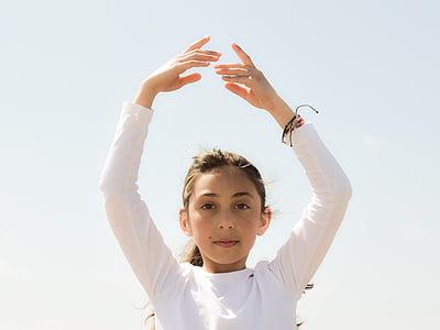 girl, dancing, light, peace, balance, wellness, kid