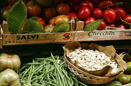 groenten, plantaardige stand, indrukken, Italië, Toscane, tomaten, bonen