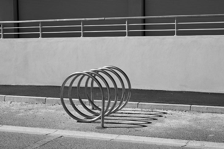 bikes, parking, city, sidewalk, street, image, circles
